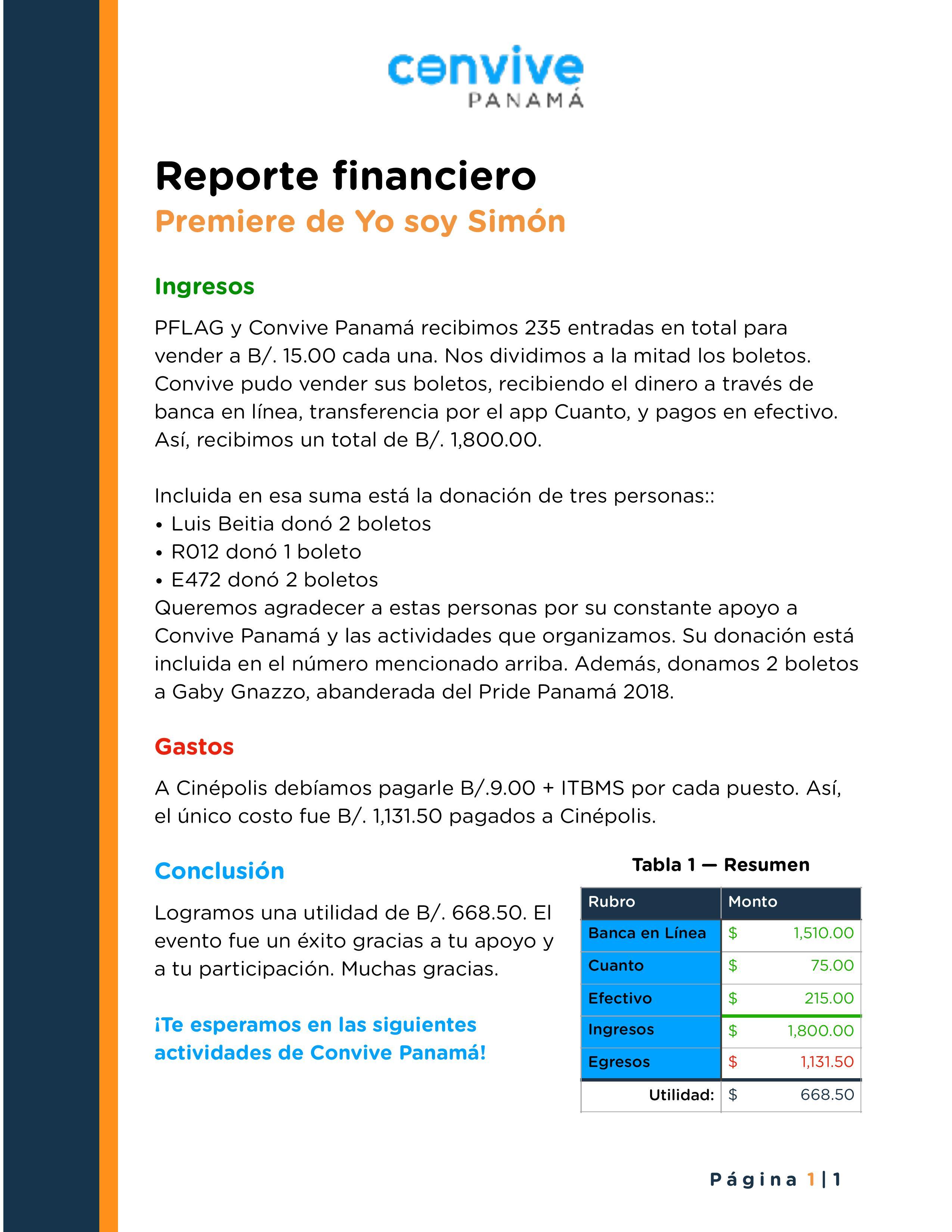 Reporte Financiero Yo Soy Simón Convive Panamá